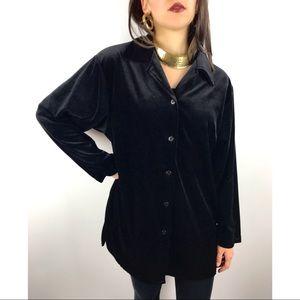VTG DIANE VON FURSTENBERG Black velour blouse M